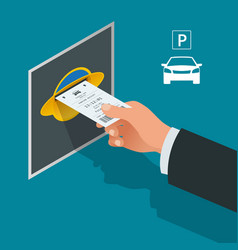 mans hand with parking tickets isometric flat vector image