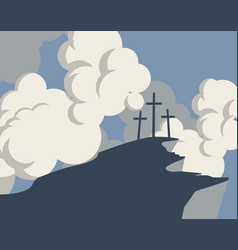 mountain with three crosses and sky with clouds vector image vector image