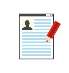 Paper sheet document and pencil flat icon vector image vector image