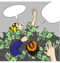 pop art of sinking in money vector image