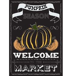 Poster with a pumpkin theme on the market vector