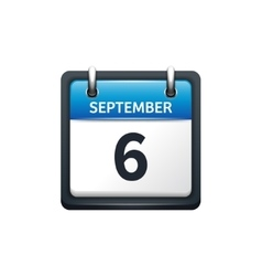 September 6 calendar icon vector