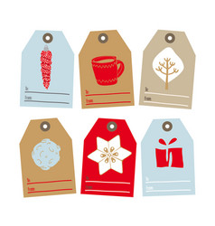 set of tags for gifts for christmas vector image vector image