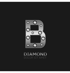 Silver B letter vector image