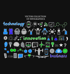 sketch science and technology elements set vector image vector image