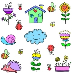 Spring flower cloud doodles vector