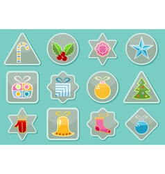 Stickers With Christmas Items vector image vector image