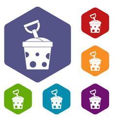 Toy bucket and shovel icons set hexagon vector