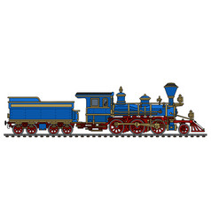 vintage blue american steam locomotive vector image vector image