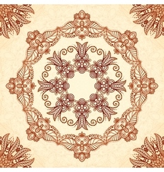 Vintage mandala seamless pattern in indian mehndi vector