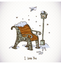 Vintage Winter Card with Snow-covered Bench vector image vector image