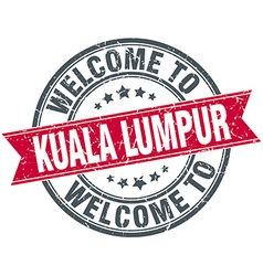 Welcome to kuala lumpur red round vintage stamp vector