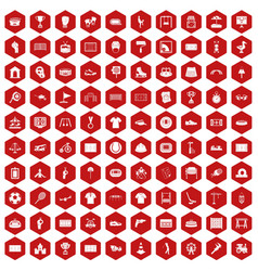 100 playground icons hexagon red vector