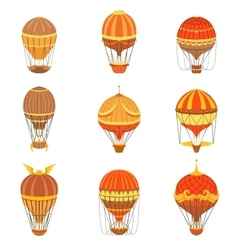 Vintage hot air balloons set vector