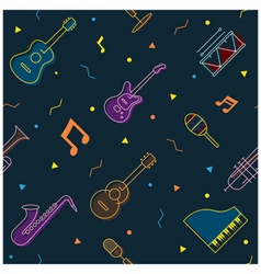Music instruments objects seamless pattern vector
