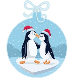 CCute Christmas Penguins Kissing Cartoon vector image