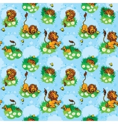Seamless pattern with funny lion play with vector