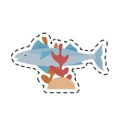 mackerel fish sea life coral line dotted vector image