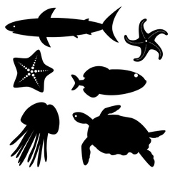 Fish silhouettes set 5 vector image