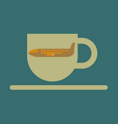 Icon in flat design for airport cup of coffee vector