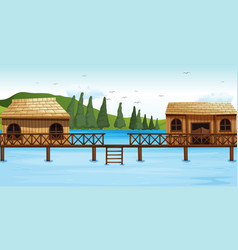 Two wooden bungalow on water vector