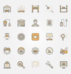 Car diagnostics colorful icons set vector