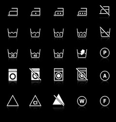 Laundry icons with reflect on black background vector