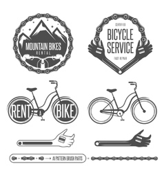 Set of vintage bicycle badges and design elements vector
