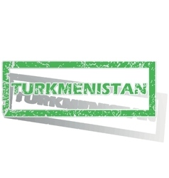 Green outlined turkmenistan stamp vector