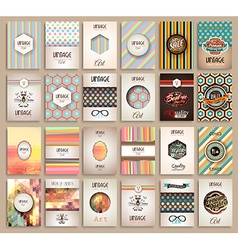 Vintage styles brochure templates set with labels vector