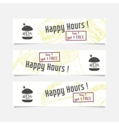 Collection of banners templates with sketched fast vector