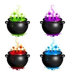 Black cauldrons set with colorful witches vector