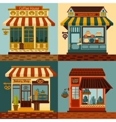 Shops facades set vector