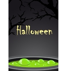 Halloween background with green potion and place vector