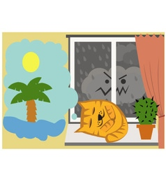Cat sleepon the window vector