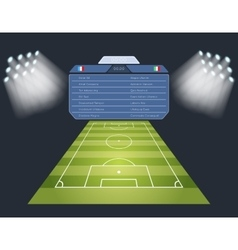 Soccer field with scoreboard vector