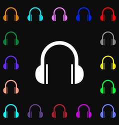 Headphones icon sign lots of colorful symbols for vector