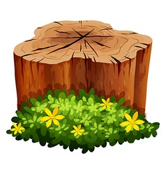 Log and green bush vector