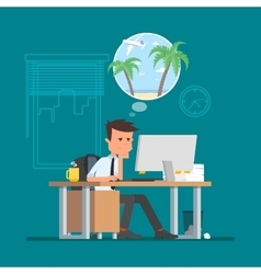 Business man working hard and dreaming about vector image vector image
