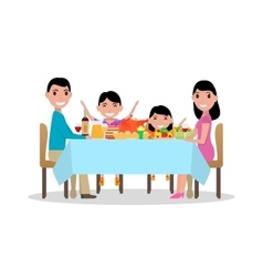 Cartoon happy family festive dinner table vector