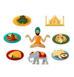 different objects of traditional indian culture vector image vector image