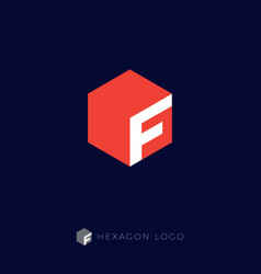 f hexagon logo monogram letter vector image