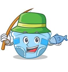 fishing baby diaper character cartoon vector image