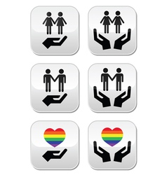 Gay and lesbian couples rainbow flag with hands i vector image vector image