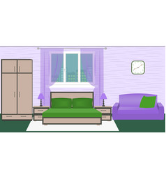 Hotel room bedroom interior with bed wardrobe vector