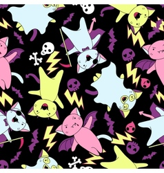 kawaii pattern of Halloween cats and creatures vector image vector image