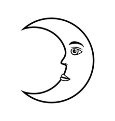 moon crescent face vector image