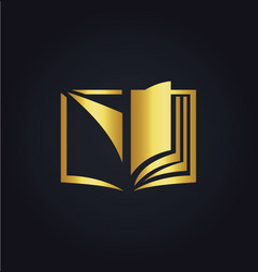 Open book education gold logo vector