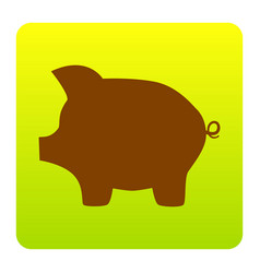 Pig money bank sign brown icon at green vector
