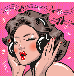 pop art of woman listening to vector image